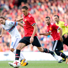 Red zone: New signing Nemanja Matic in action last night