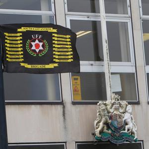 South East Antrim UFF flags placed around Newtownards Court House in July , 2017