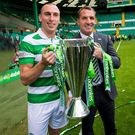 Just champion: Brendan Rodgers and his skipper Scott Brown proudly hold the Scottish Premiership trophy. Photo: Craig Watson/PA