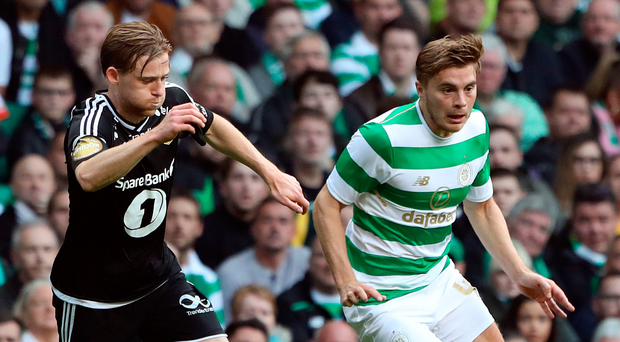 Celtic's James Forrest (right) and Rosenborg's Yann-Erik de Lanlay battle for the ball during the UEFA Champions League match. Photo: Andrew Milligan/PA