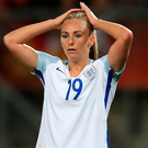 So near: England's Toni Duggan feels the pain of defeat after last night's Women's Euro 2017 semi-final. Photo : Mike Egerton/PA