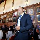 The Irish Taoiseach (prime minister) Leo Varadkar, TD, arrives at Queens University, Belfast Northern Ireland to deliver speech on The Future of Relationships between Northern Ireland and Southern Ireland. Photo by Matt Mackey / Press Eye 4th August 2017