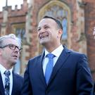Irish Taoiseach Leo Varadkar, TD, arrives at Queens University, Belfast Northern Ireland to deliver speech on The Future of Relationships between Northern Ireland and Southern Ireland. Photo by Matt Mackey / Press Eye.