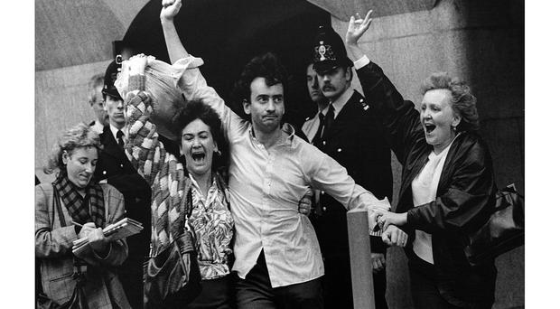 Gerry Conlon emerges from the Old Bailey Court in October 1989 after the Guildford Four were released following their wrongful conviction