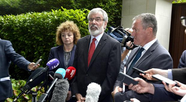 Press Eye Belfast - Northern Ireland 4th August 2017 Sinn Fein President Gerry Adams pictured with Carál Ní Chuilín and Conor Murphy at Notting Hill in Belfast after a Brexit meeting with the Irish Taoiseach Leo Varadkar. Photo by Stephen Hamilton / Press Eye