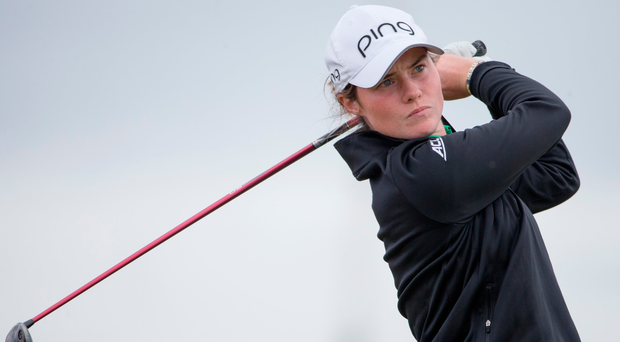 Good swing at it: Leona Maguire tees off at the 16th tee during day two of the 2017 Ricoh Women's British Open