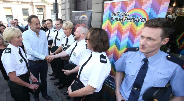 Taoiseach Leo Varadkar, rounds off his visit to Northern Ireland by attending the Pride breakfast in Belfast by meeting PSNI and Garda officers.