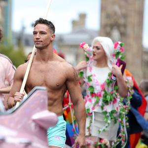 Thousands of people take part in the annual Belfast Pride event in Belfast city centre celebrating Northern Ireland's LGBT community. Photo by Kelvin Boyes / Press Eye.