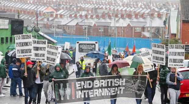 General view of the republican Anti Internment League parade as it leaves Ardoyne in north Belfast to Dunville Park.