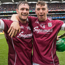On their way: Galway's David Burke and Shane Moloney celebrate after their triumph