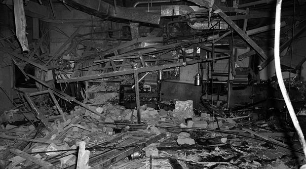 File photo of the wreckage left at the Mulberry Bush pub in Birmingham after a bomb exploded