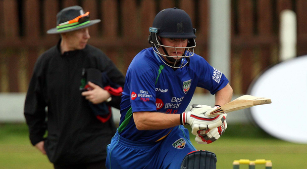 Run out: William Porterfield batting on his Warriors debut before his unlucky dismissal