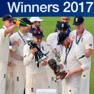 Champagne moment: Joe Root lifts the series trophy as England celebrate their success