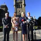 Pacemaker Press Belfast: 8 August 2017 : A Sinn Féin delegation including leader in the North Michelle O'Neill MLA, Gerry Kelly MLA, Linda Dillon MLA and Seán Crowe TD pictured at Stormont Castle in Belfast following today's (Tuesday 8th August) meeting with PSNI Chief Constable George Hamilton. Picture by: Arthur Allison: Pacemaker Press.