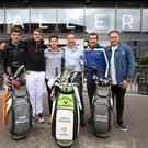 Tea-ing off: The Gallery Café Bar in Belfast has 'chipped in' with support for this week's Northern Ireland Open. From left are golfers Guido Migliozzi and Christiaan Bezuidenhout, Niall Horan, chief executive of the Richland Group and Gallery proprietor Gary McCausland, golfer Thriston Lawrence and co-director of Modest! Mark McDonnell