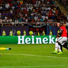 Pounced: United striker Romelu Lukaku's goal wasn't enough as Real Madrid ran out 2-1 winners of the UEFA Super Cup final