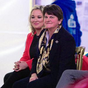DUP leader Arlene Foster and Sinn Fein's Stormont leader Michelle O'Neill at the event