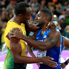 Jamaica's Usain Bolt (left) and USA's Justin Gatlin after the Men's 100m Final. Photo: Adam Davy/PA