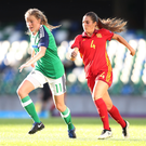 Chase is on: Northern Ireland's Leyla McFarland is pursued by Spain's Andrea Maddalen Sierra Larrauri at Windsor Park. Photo: William Cherry/Presseye