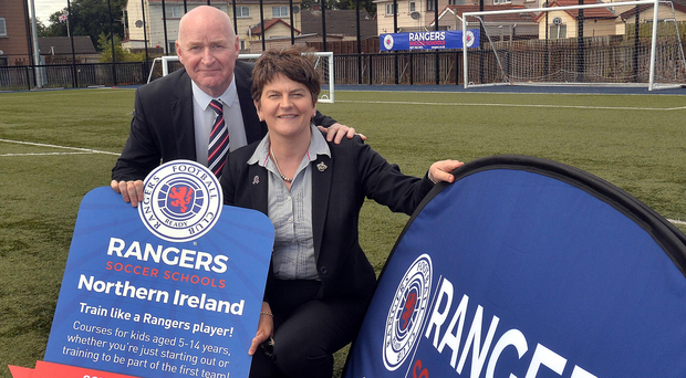 Learning curve: DUP leader Arlene Foster joins Rangers legend, John Brown at the club's Soccer Schools launch yesterday. Photo: Tony Hendron/Tonypixnews