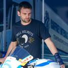 William Dunlop had his left wrist strapped up during qualifying and the injury was soon to end his Ulster Grand Prix.