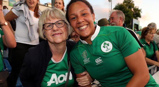 Family fortunes: Ireland's Sophie Spence celebrates the win over Australia with her mum Myrtle on Wednesday evening. Photo: Dan Sheridan/INPHO