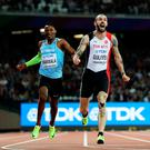 Victory roar: Ramil Guliyev hails his 200m win ahead of sixth-placed Isaac Makwala. Photo: Patrick Smith/Getty Images