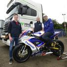 Revved up: Peter Hickman (right) with British Motostar rider Eugene McManus Jnr (left) and Danny McManusof MMB Surfacing, sponsors of the first Superbike race at the MCE Ulster Grand Prix