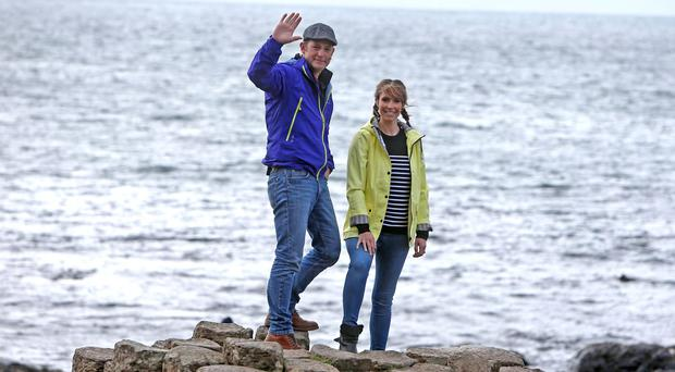 Matt Baker and Alex Jones during filming of the BBC ONE Show at the Giants Causeway. Pic Steven McAuley/McAuley Multimedia
