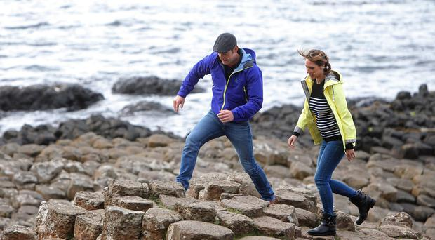 The One Show's Matt Baker and Alex Jones last night at the Giant's Causeway
