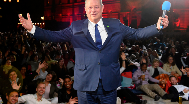 Main man: Al Gore on stage introducing the UK premiere of An Inconvenient Sequel: Truth To Power in London this week
