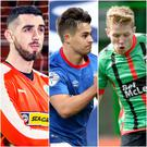 Joe Gormley (Cliftonville), Jordan Stewart (Linfield) and Corey McMullan (Glentoran) are three of the league's new arrivals this summer.
