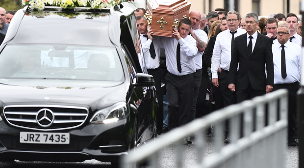 The funeral of Kevin Murray in Strabane on Saturday. Pic Pacemaker