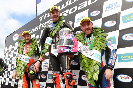PACEMAKER, BELFAST, 12/8/2017:Peter Hickman (Trooper Beer Triumph) celebrates winning the 1st Supersport race at today's Ulster Grand Prix with runner up Bruce Anstey and third placed Lee Johnston (both Padgetts Honda). PICTURE BY STEPHEN DAVISON