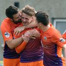 Glenavon's Marc Griffin celebrates after scoring to make it 0-2 during Saturday's match at Warrenpoint.