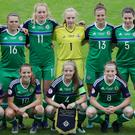 Northern Ireland players lineup before Monday evenings UEFA European Women's Under-19 Championship game at Ballymena Showgrounds, Ballymena.
