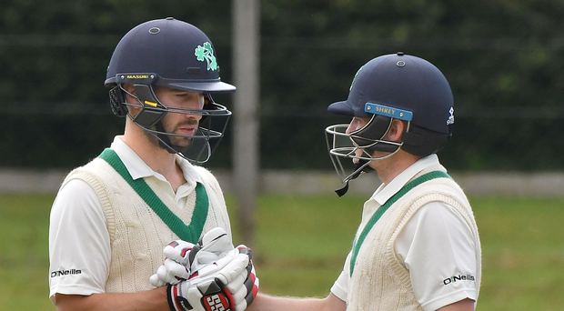 Big hitters: Andrew Balbirnie and William Porterfield during the I-Cup clash. Photo: Rowland White/Presseye