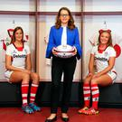 Dressed for success: Jackie Henry, Senior Partner at Deloitte NI, and Ulster Rugby players Peita McAlister, Claire Johnston, Brittany Hogan and Hannah Beattie