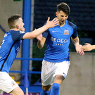 Three and easy: Adam Foley bagged a superb hat-trick