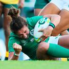 Ulster's Larissa Muldoon scored a try in the opening game against Australia. Photo: Brian Lawless/PA