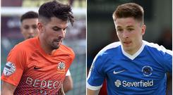 Glenavon's Adam Foley (left) and Ballinamallard's Ryan Curran (right) showed their goal-scoring abilities at Mourneview Park.