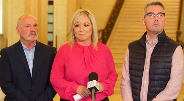 Sinn Fein's leader at Stormont Michelle O'Neill (centre) along with her party colleagues Alex Maskey (left) and Niall O Donnghaile (right) speak to the press in the Great Hall at Parliament Buildings. Picture by Jonathan Porter/PressEye.com