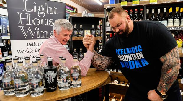 Light House Wines owner Damien Curran takes on Game of Thrones star Hafþor Julius Bjornsson in an arm-wrestling match