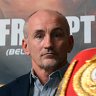 Poster boy: Barry McGuigan at a press conference for Carl Frampton's first fight with Kiko Martinez in 2013. Photo: Russell Pritchard/Presseye