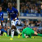 Everton's Idrissa Gueye celebrates scoring his side's second goal of the game during the UEFA Europa League Play-Off, First Leg match at Goodison Park, Liverpool.