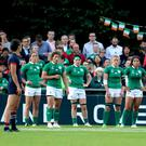 Over and out: Ireland players dejected after France's third try, scored by Caroline Ladagnous, at the UCD Bowl in Dublin last night. Photo: Dan Sheridan/INPHO
