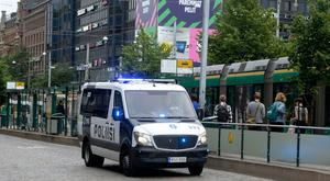 Finnish police patrols in Central Helsinki on August 18, 2017. Finnish Police announced they will rise the readiness after stabbings in Turku / AFP PHOTO / Lehtikuva / Linda MANNER / Finland OUTLINDA MANNER/AFP/Getty Images