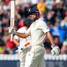 Know the score: Alastair Cook after reaching a superb 200