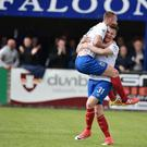 Linfield's Niall Quinn celebrates his goal with Andrew Mitchell. Photo Charles McQuillan/Pacemaker Press