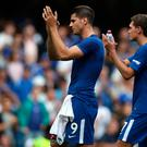Chelsea's Alvaro Morata (left) and Chelsea's Andreas Christensen (right) applaud supporters after the final whistle during the Premier League match at Stamford Bridge, London. John Walton/PA Wire.